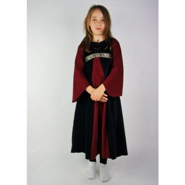 Fluwelen meisjesjurk Ariane, zwart-rood