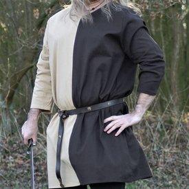 Middelalderlige tunika mi-parti naturlige-brun