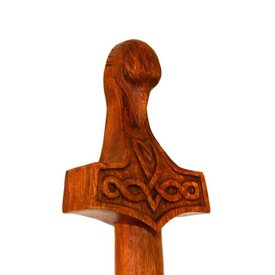 Bastón de madera con el martillo de Thor y la cabeza de cuervo