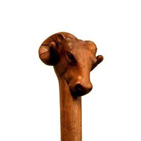 Bâton de marche en bois avec tête de bélier