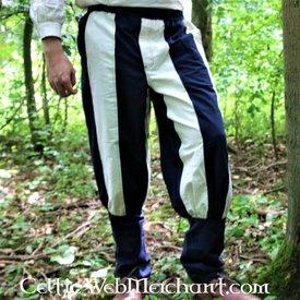 Pantalón Tudor del siglo XVI azul-natural