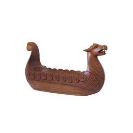 Drakkar tallado en madera