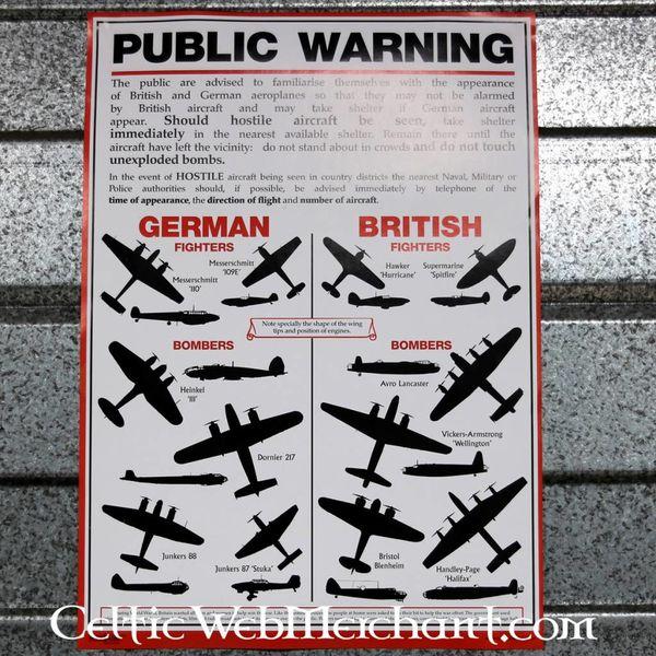 Cartel de reconocimiento de avión de la segunda guerra mundial