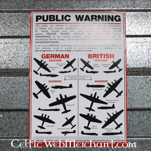 Tweede Wereldoorlog vliegtuig herkenningsposter