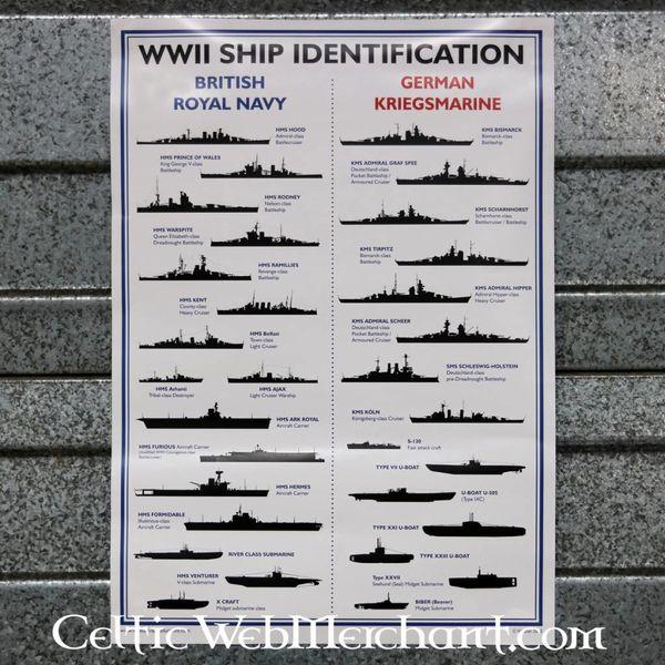 Tweede Wereldoorlog scheepsherkenningsposter