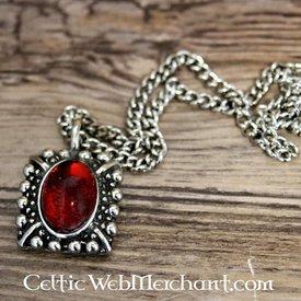 Tudor halskæde Elisabeth, rød perle, forsølvet
