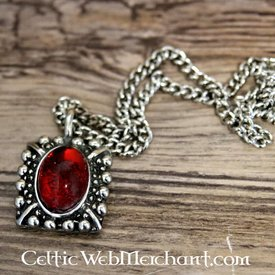 Tudor necklace Elisabeth, red gem, silvered