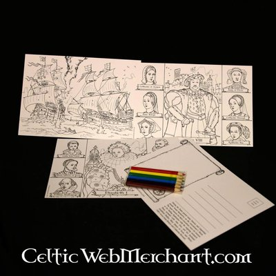 Historic Colouring pages and rub down panoramas
