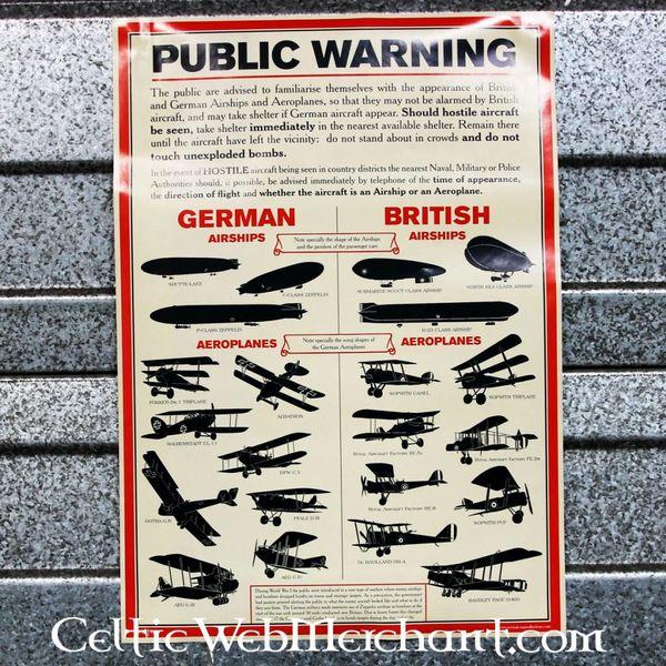 Affiche d'identification d'avions de la Première Guerre mondiale