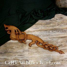 Dragón vikingo de madera mirando hacia la izquierda