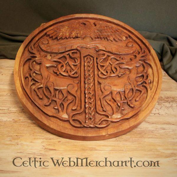 Drewniane Yggdrasil z jeleniami