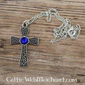 Knyttet kors vedhæng, blå
