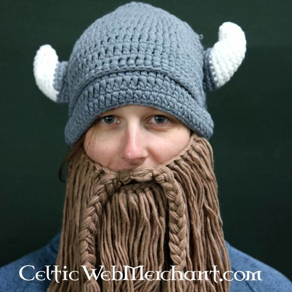 Gebreide vikingmuts met baard M