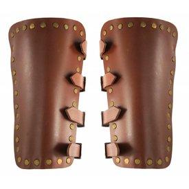 Læder armbeskyttere i plade Marius, brun