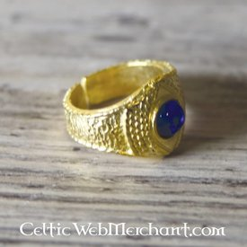Anello medievale dorato, blu
