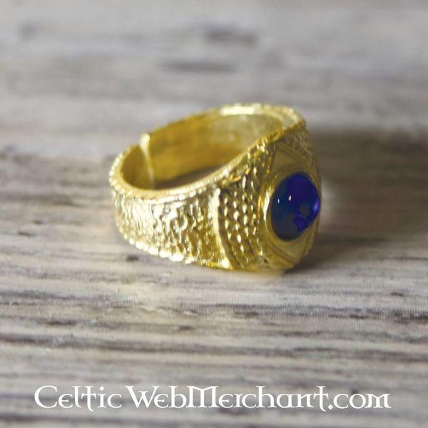 Bague médiévale dorée, bleue
