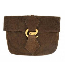 Taske med ulv spænde, brun