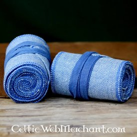 Leg wrappings with herringbone motive, blue