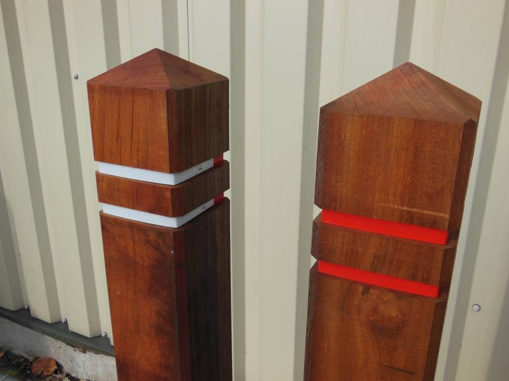 potelet anti stationnement bois azob t te diamant 15 x 15. Black Bedroom Furniture Sets. Home Design Ideas