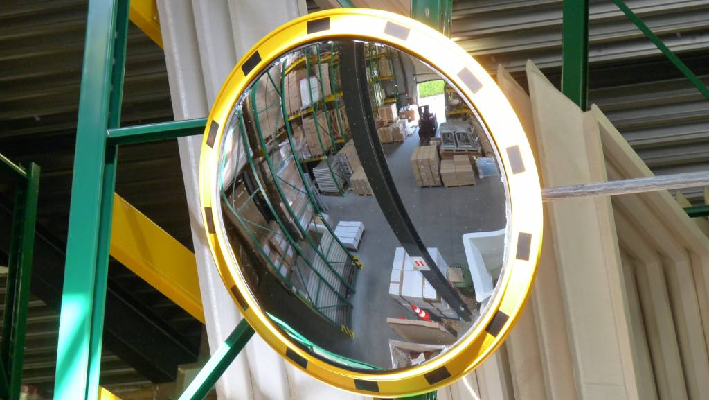 Verkeersspiegel industrie rond 800 mm geel zwart for Miroir industrie