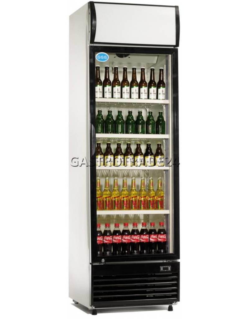 Flaschenkühlschrank Glastür 360 Liter Umluft weiss - Gastrotrade24