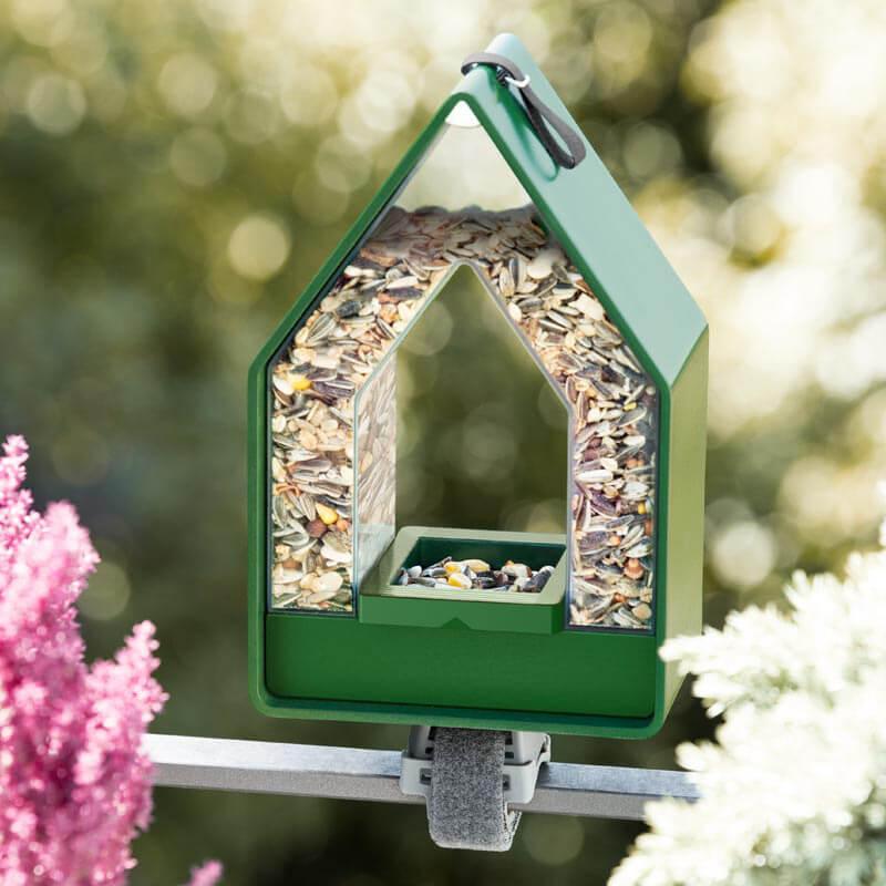 vogel voeder-dispenser op het balkon