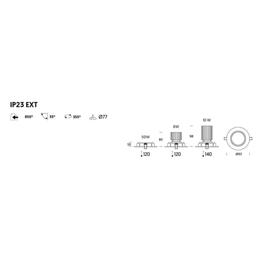 Kantelbare inbouwspot 191/1 - Aluminium - 12V