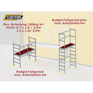 "CUSTERS ® Zimmerfahrgerüst ""Foldy"", Rollgerüst, Plattform mit Luke, TÜV/GS geprüft"