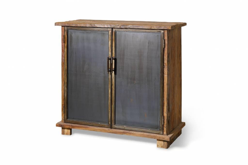 teak highboard flintstone metall allerm bel. Black Bedroom Furniture Sets. Home Design Ideas