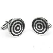 Manchetknopen zilver/zwart rond