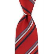 Zijde stropdas rood/grijs/marineblauw/wit