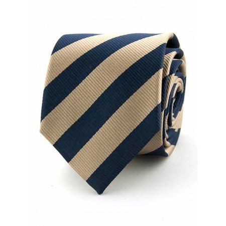 100% zijde stropdas Kahki / marineblauw