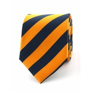Stropdas blauw/oranje 100% zijde