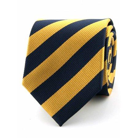100% zijde stropdas marineblauw/goud