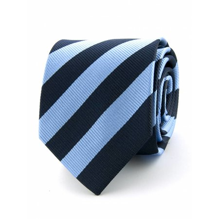 100% zijde stropdas marineblauw/L.blauw