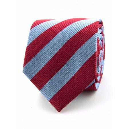 100% zijde stropdas lichtblauw/rood