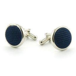Manchetknopen 100% zijde marineblauw