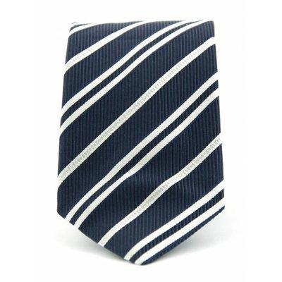 Stropdas Progetto blauw/wit 100% zijde