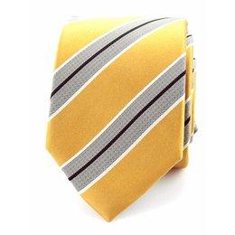 Stropdas geel/grijs 100% zijde