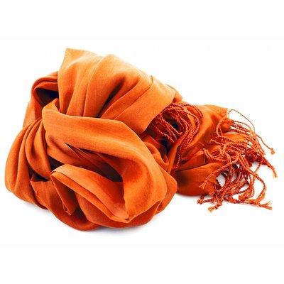 Shawl oranje 25% zijde 75% Katoen
