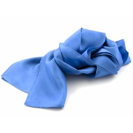 Shawl midden blauw 100% Zijde
