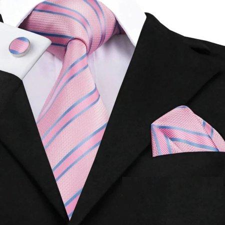 Luxe brede stropdas roze gestreept met pochet en manchet knoop