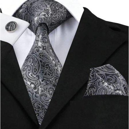 Luxe brede stropdas zwart  - motief met pochet en manchet knoop