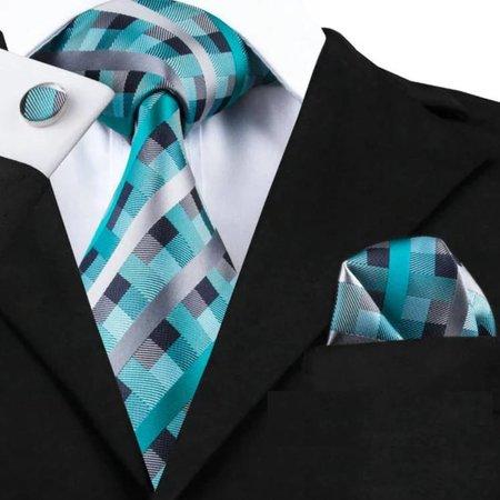 Luxe brede stropdas turquoise - zilver - gestreept met pochet en manchet knoop