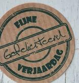 Ronde craft sticker Fijne verjaardag gefeliciteerd, 10st