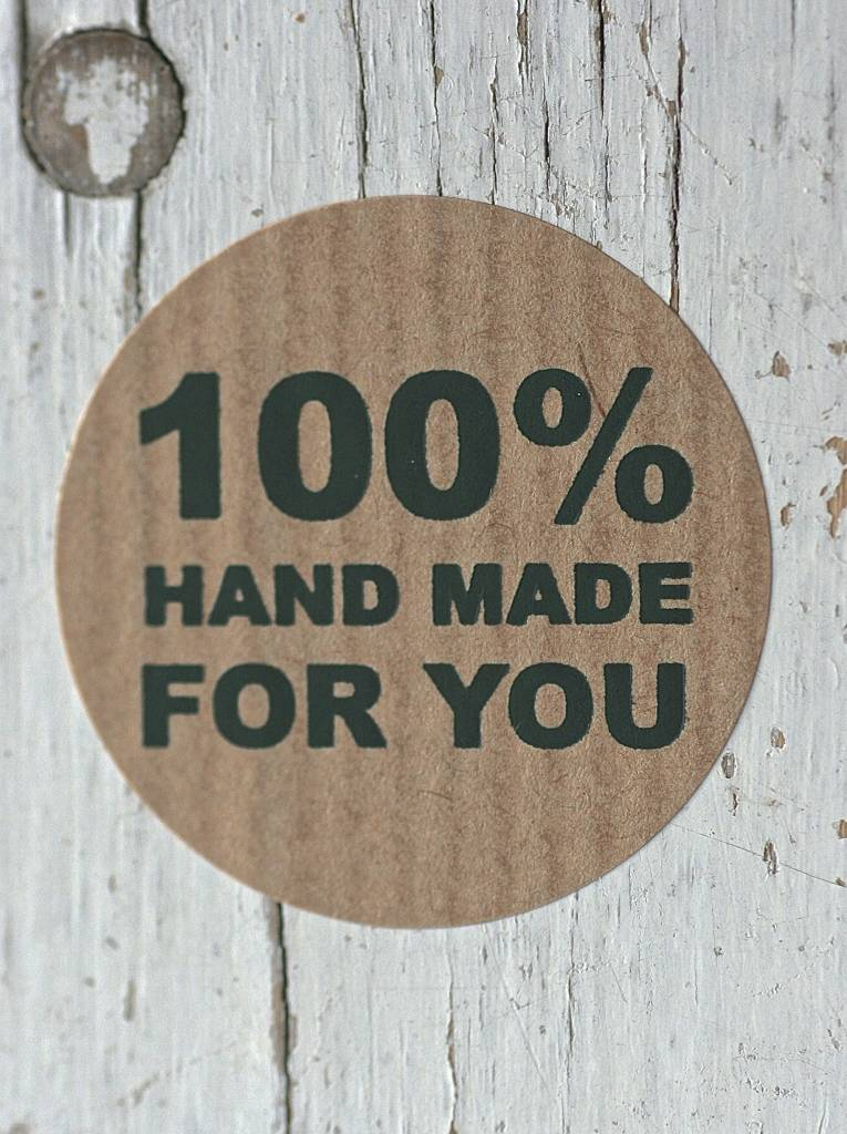 Ronde craft sticker 100% Hand Made for you, 10st