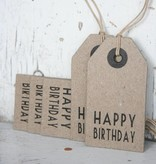 East of India Label karton 4x7,5cm Happy Birthday