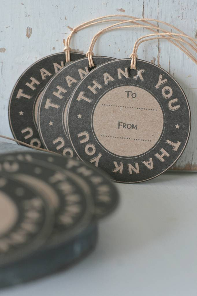 East of India Label karton rond 7cm Thank You
