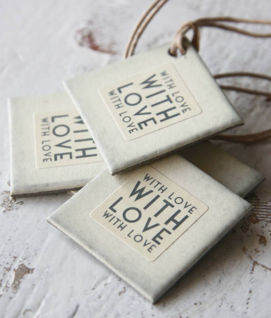 East of India Label karton 3x3cm With Love off-white