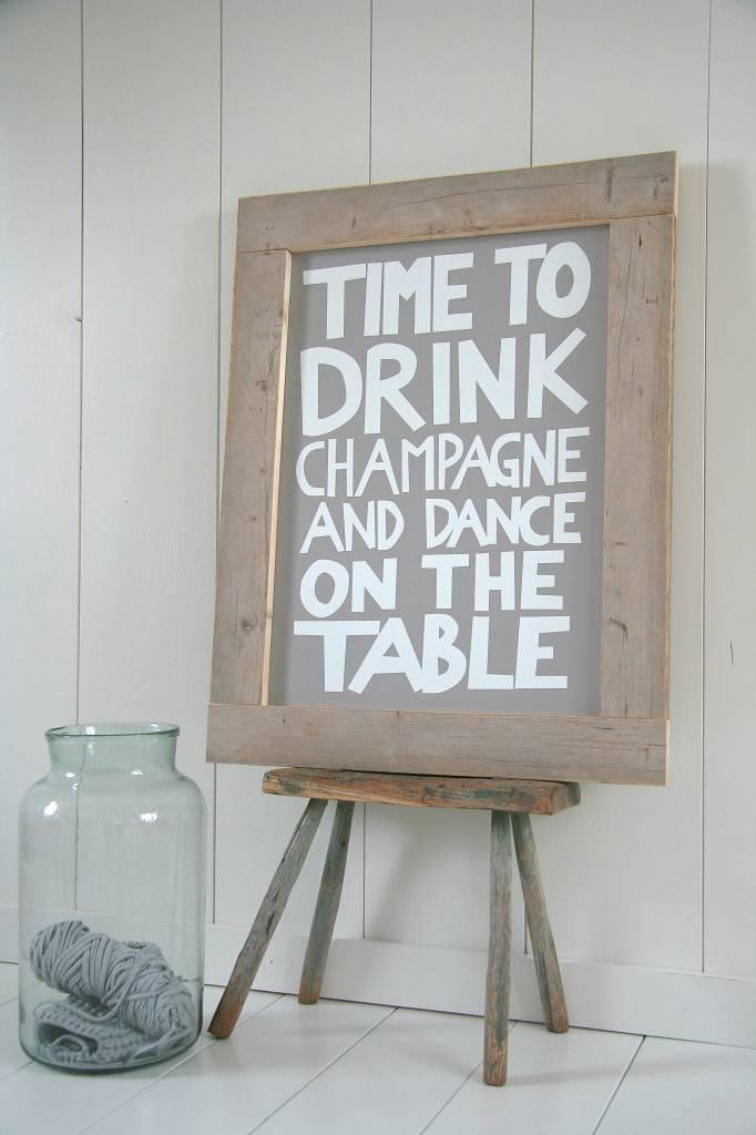 Tekstbord Keuken : Home / Houten tekstbord Time to drink champagne met steigerhouten